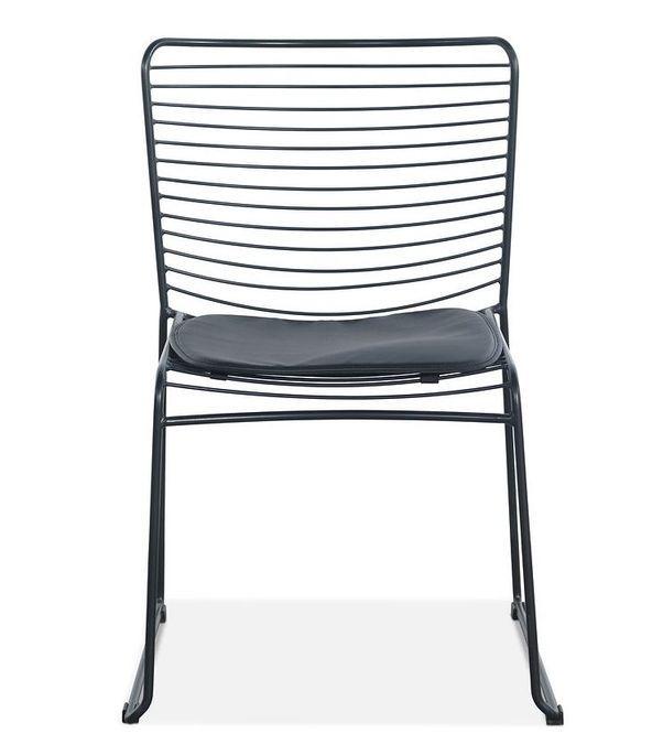 Chaise acier noir et assise avec un coussin en cuir noir Indy - Photo n°3