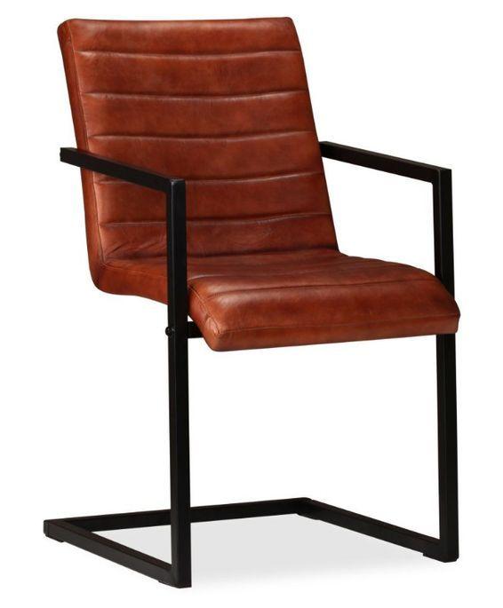 Chaise avec accoudoirs cuir marron et pieds métal noir Kandyas - Lot de 2 - Photo n°2
