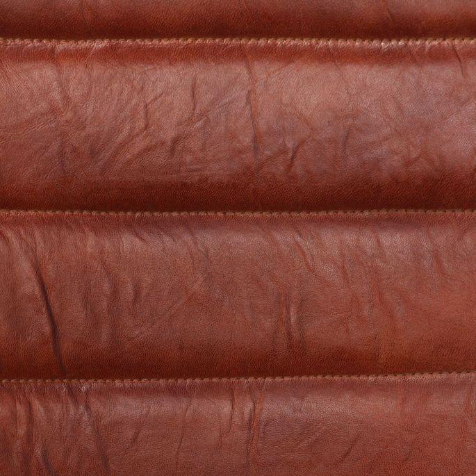 Chaise avec accoudoirs cuir marron et pieds métal noir Kandyas - Lot de 2 - Photo n°3