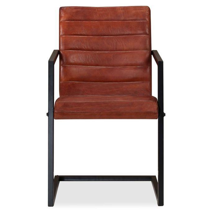 Chaise avec accoudoirs cuir marron et pieds métal noir Kandyas - Lot de 2 - Photo n°4