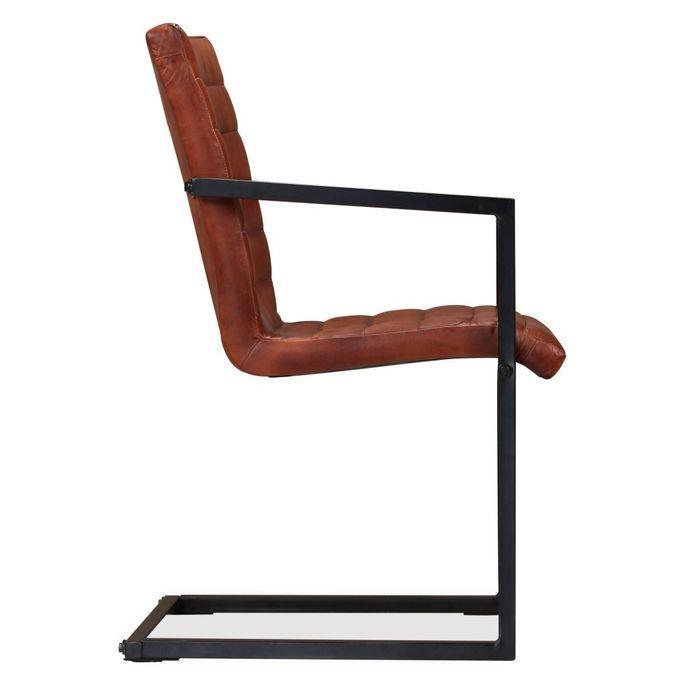 Chaise avec accoudoirs cuir marron et pieds métal noir Kandyas - Lot de 2 - Photo n°5