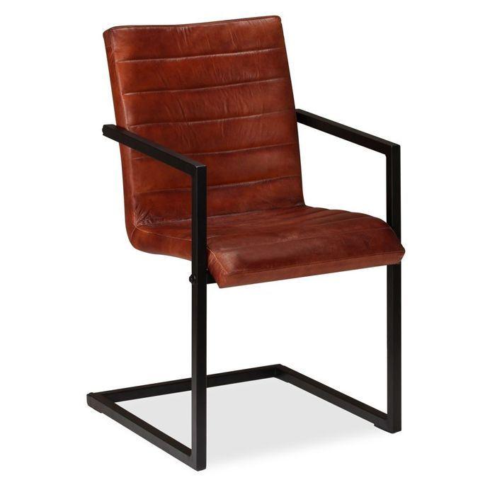 Chaise avec accoudoirs cuir marron et pieds métal noir Kandyas - Lot de 2 - Photo n°6