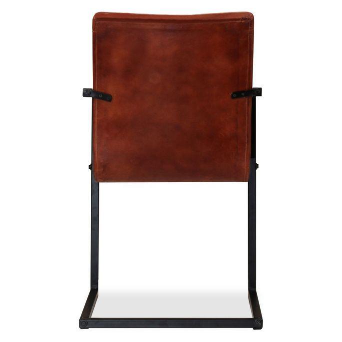Chaise avec accoudoirs cuir marron et pieds métal noir Kandyas - Lot de 2 - Photo n°7