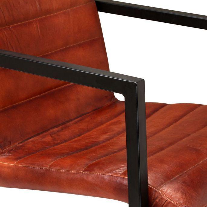 Chaise avec accoudoirs cuir marron et pieds métal noir Kandyas - Lot de 2 - Photo n°8
