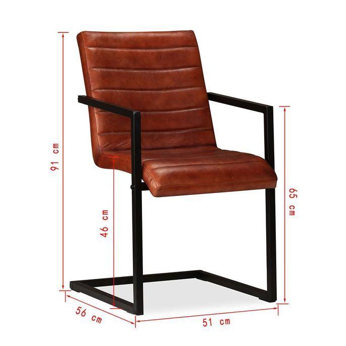 Chaise avec accoudoirs cuir marron et pieds métal noir Kandyas - Lot de 2 - Photo n°10