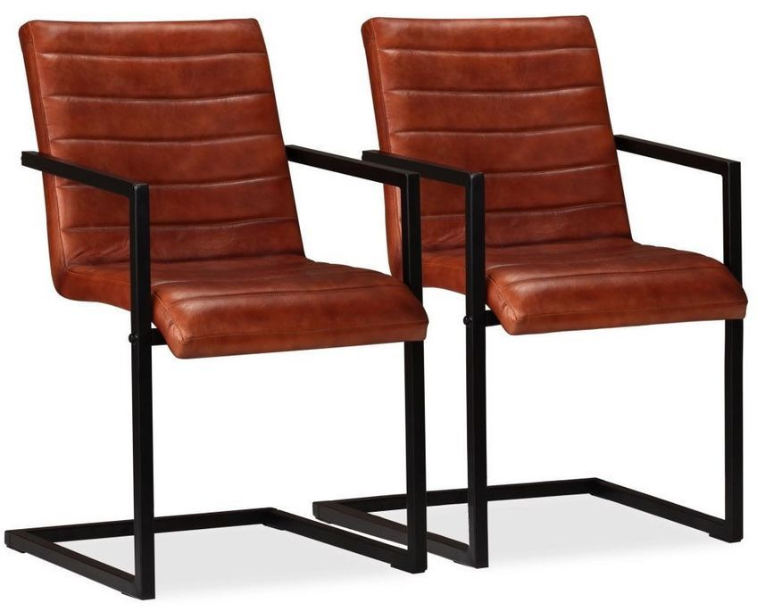 Chaise avec accoudoirs cuir marron et pieds métal noir Kandyas - Lot de 2 - Photo n°1