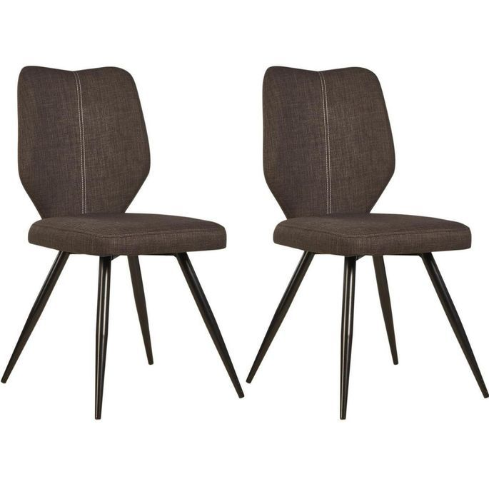 Chaise tissu marron et pieds métal noir Chika - Lot de 2 - Photo n°1
