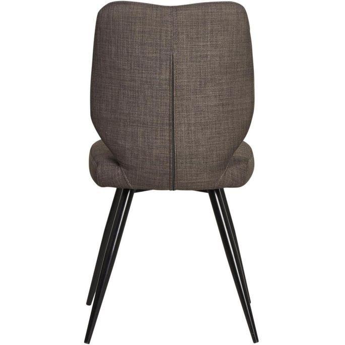 Chaise tissu marron et pieds métal noir Chika - Lot de 2 - Photo n°2