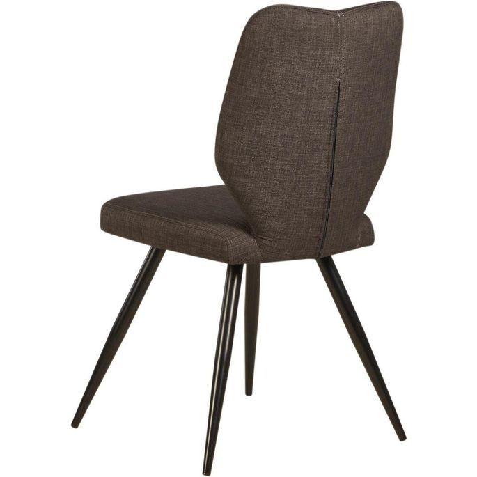 Chaise tissu marron et pieds métal noir Chika - Lot de 2 - Photo n°3