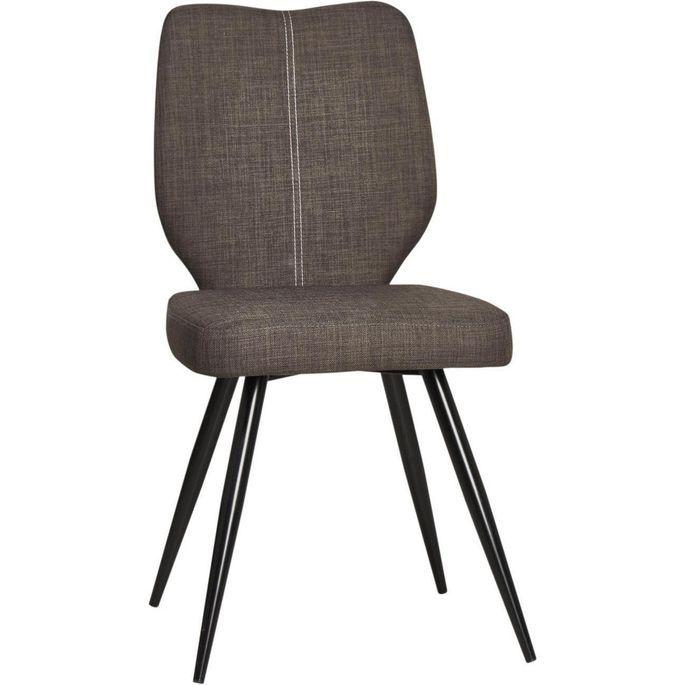 Chaise tissu marron et pieds métal noir Chika - Lot de 2 - Photo n°4