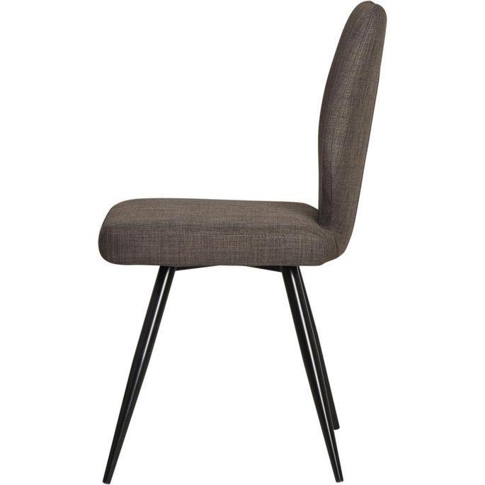 Chaise tissu marron et pieds métal noir Chika - Lot de 2 - Photo n°7