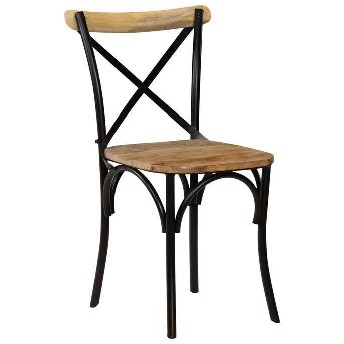 Chaise bois de manguier massif et acier noir Tiphen - Lot de 2 - Photo n°2