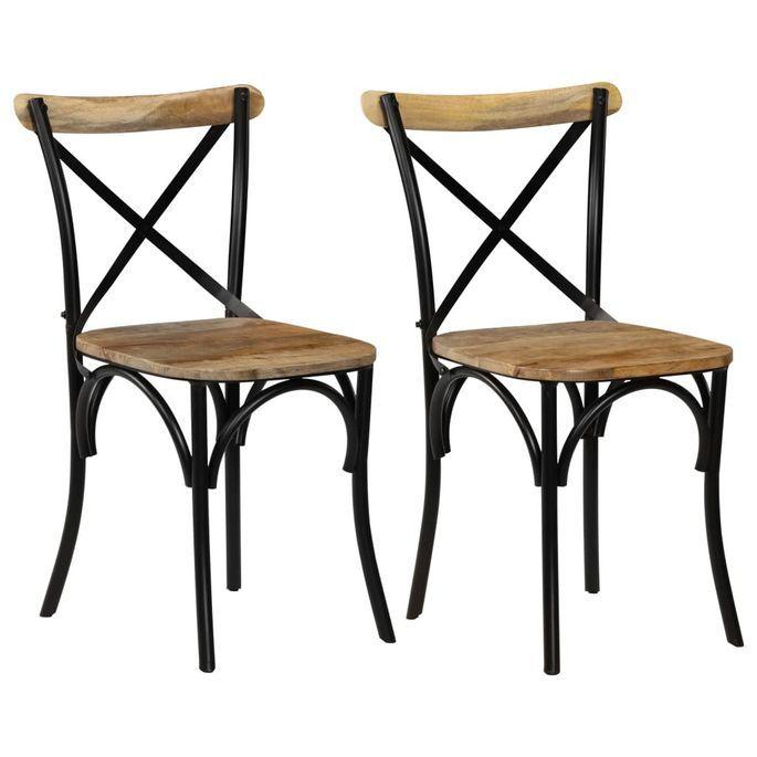 Chaise bois de manguier massif et acier noir Tiphen - Lot de 2 - Photo n°1