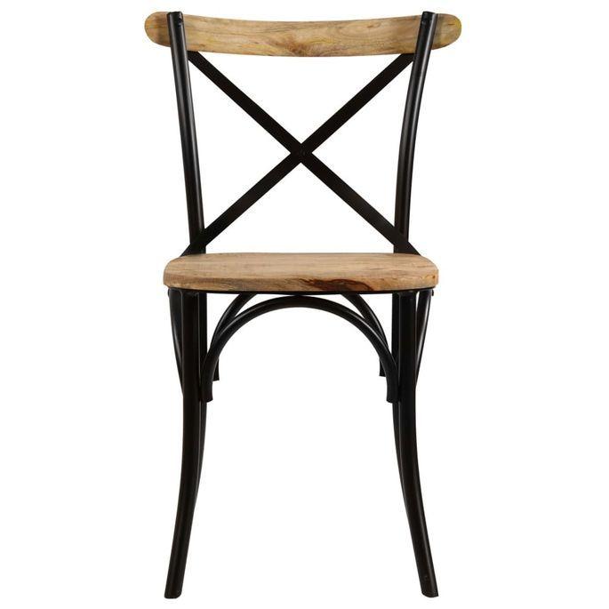 Chaise bois de manguier massif et acier noir Tiphen - Lot de 2 - Photo n°3