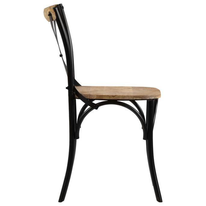 Chaise bois de manguier massif et acier noir Tiphen - Lot de 2 - Photo n°4