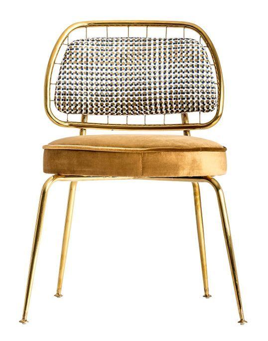 Chaise art déco métal doré et assise tissu moutarde Bari - Lot de 2 - Photo n°2