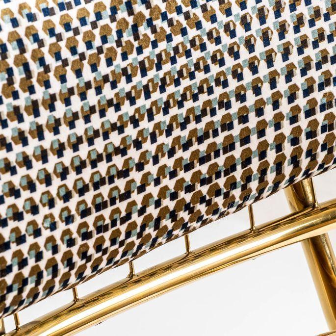 Chaise art déco métal doré et assise tissu moutarde Bari - Lot de 2 - Photo n°6