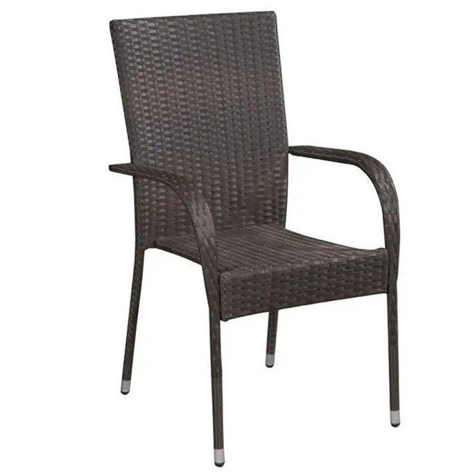Chaise de jardin résine tressée marron Daget - Lot de 2 - Photo n°1