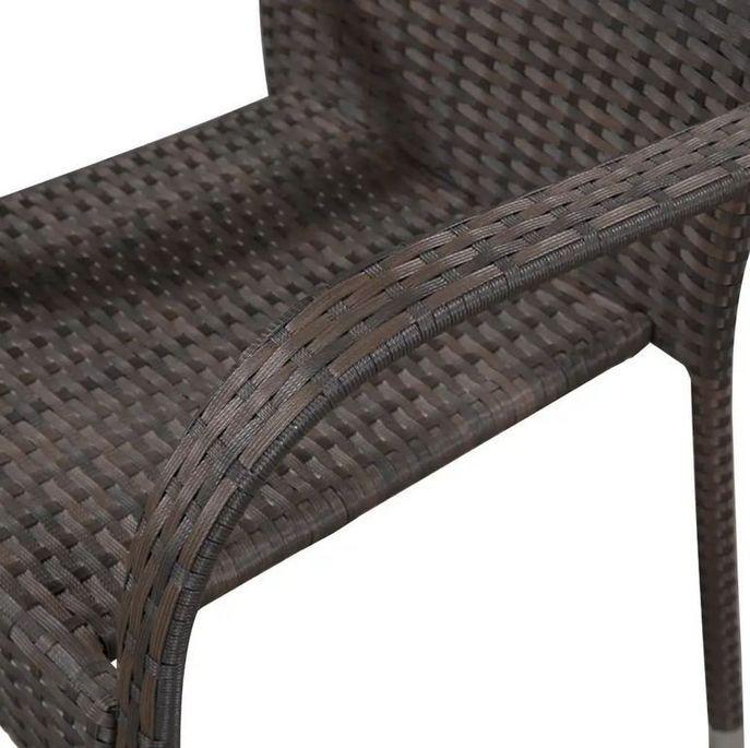 Chaise de jardin résine tressée marron Daget - Lot de 2 - Photo n°3