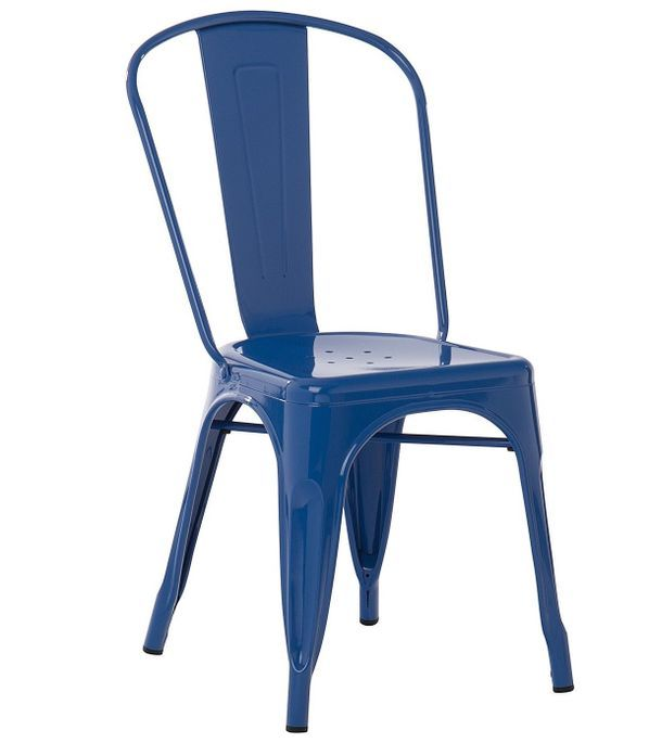 Chaise industrielle acier brillant bleu marine Kontoir - Photo n°1
