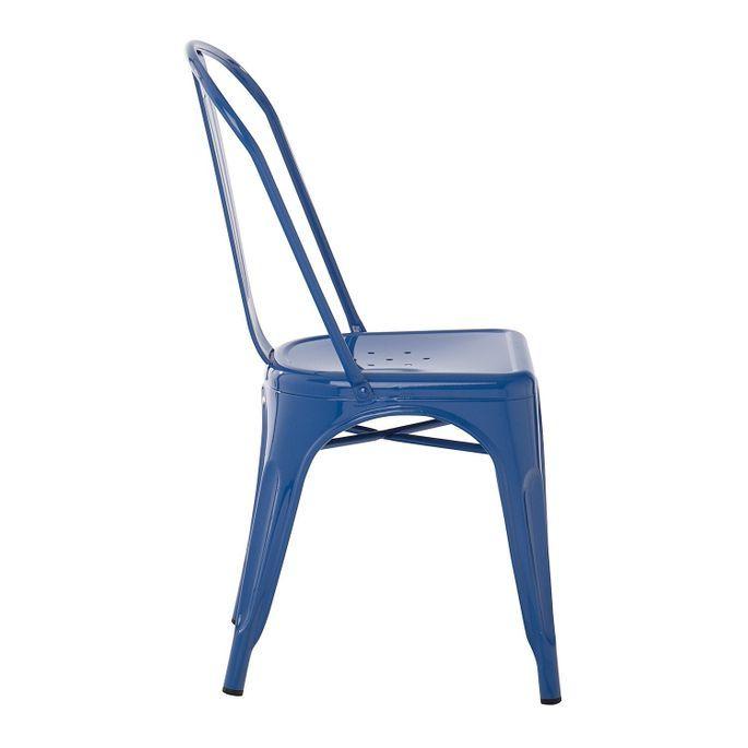 Chaise industrielle acier brillant bleu marine Kontoir - Photo n°2