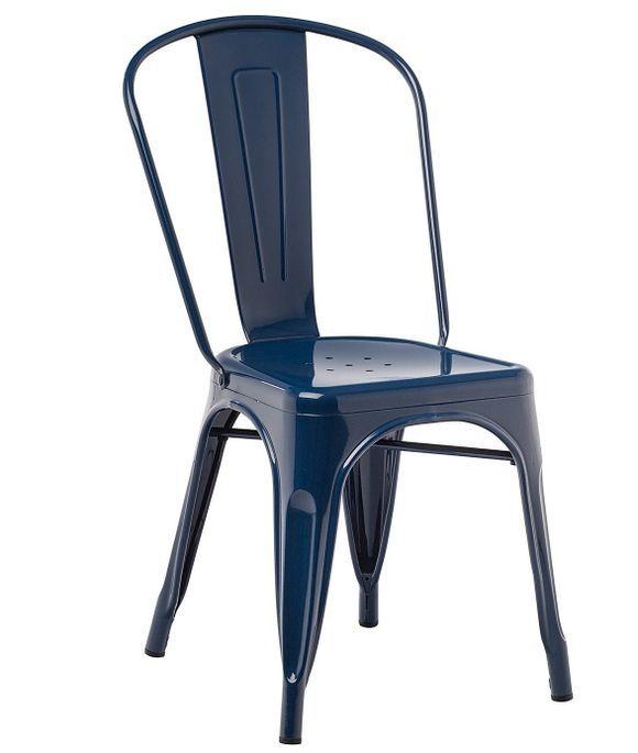 Chaise industrielle acier brillant bleu nuit Kontoir - Photo n°1