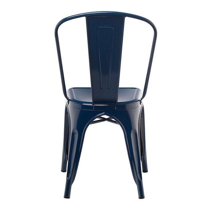 Chaise industrielle acier brillant bleu nuit Kontoir - Photo n°2