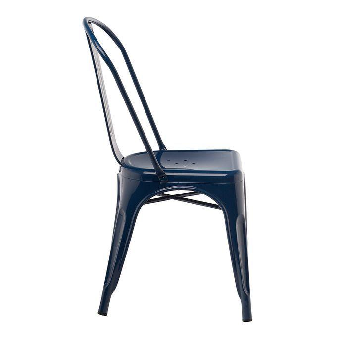 Chaise industrielle acier brillant bleu nuit Kontoir - Photo n°3