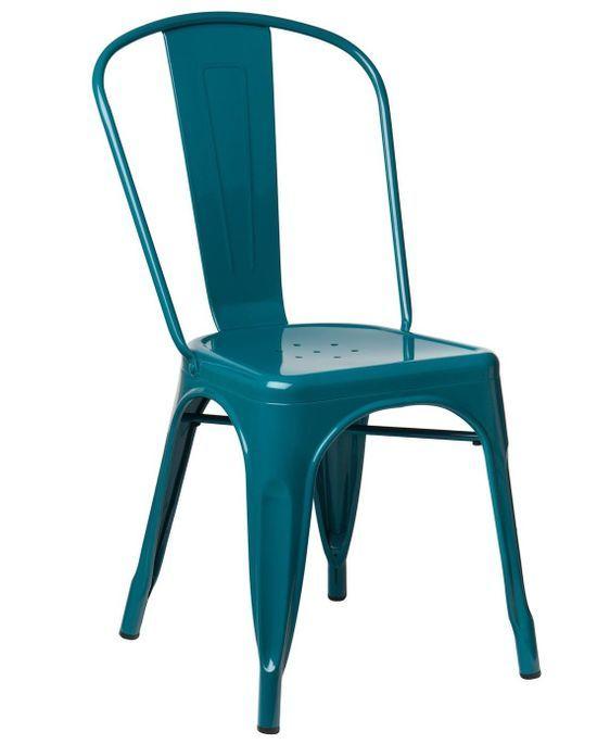 Chaise industrielle acier brillant bleu turquoise Kontoir - Photo n°1