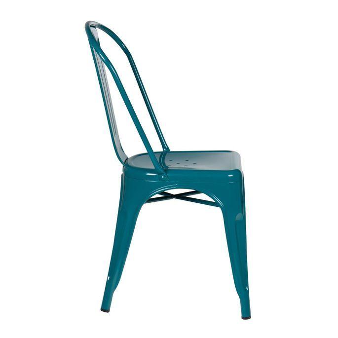 Chaise industrielle acier brillant bleu turquoise Kontoir - Photo n°2