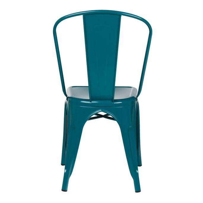 Chaise industrielle acier brillant bleu turquoise Kontoir - Photo n°3
