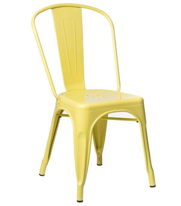 Chaise industrielle acier brillant jaune clair Kontoir - Photo n°1