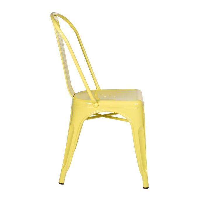 Chaise industrielle acier brillant jaune clair Kontoir - Photo n°2