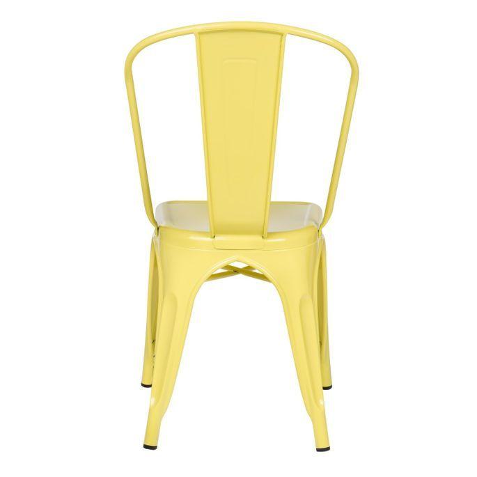 Chaise industrielle acier brillant jaune clair Kontoir - Photo n°3