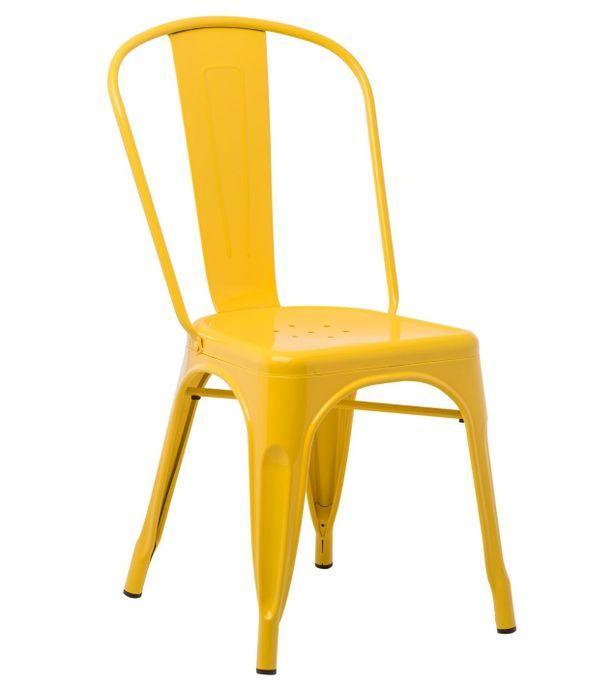 Chaise industrielle acier brillant jaune curri Kontoir - Photo n°1