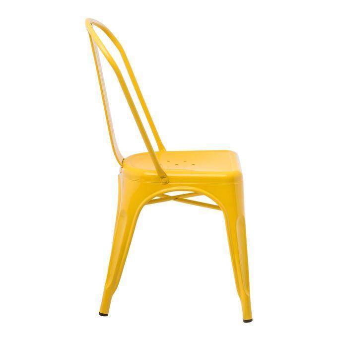 Chaise industrielle acier brillant jaune curri Kontoir - Photo n°2