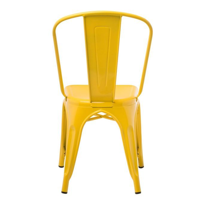Chaise industrielle acier brillant jaune curri Kontoir - Photo n°3