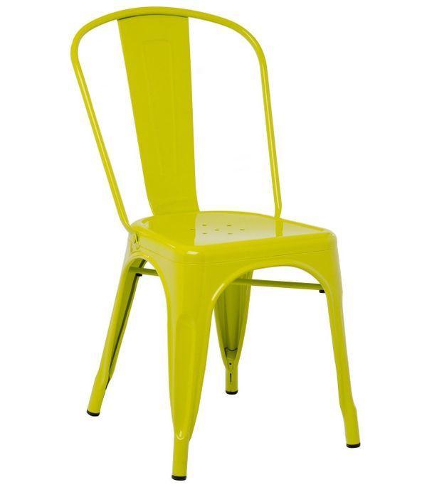 Chaise industrielle acier brillant vert anis Kontoir - Photo n°1