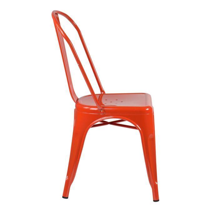 Chaise industrielle acier vieilli orange Kontoir - Photo n°2