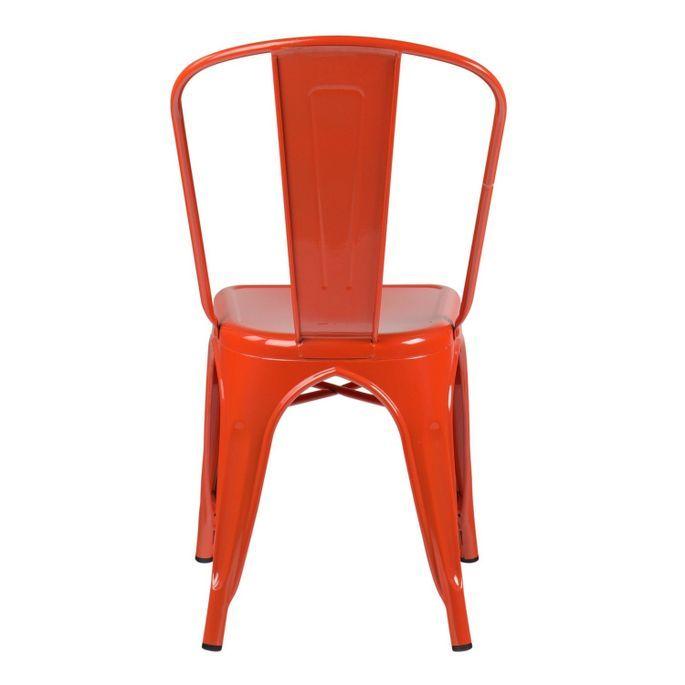 Chaise industrielle acier vieilli orange Kontoir - Photo n°3