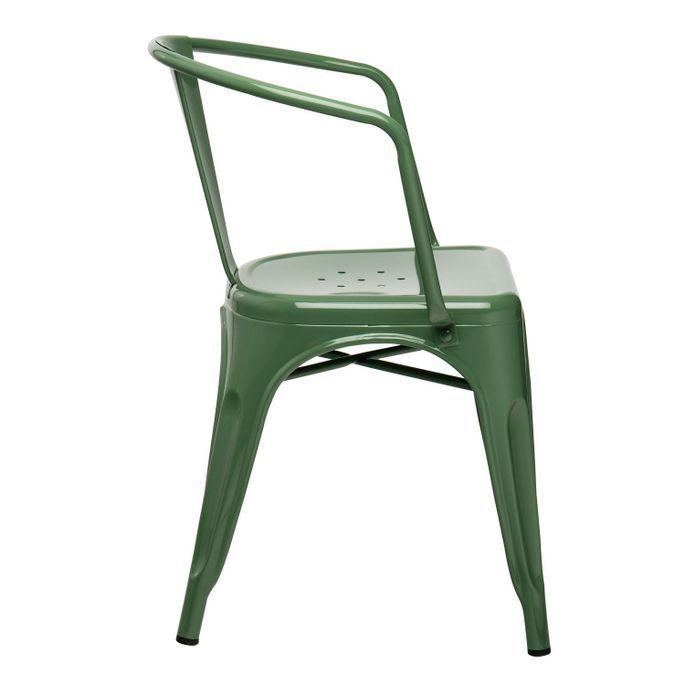 Chaise industrielle avec accoudoirs acier brillant vert platane Kuista - Photo n°2