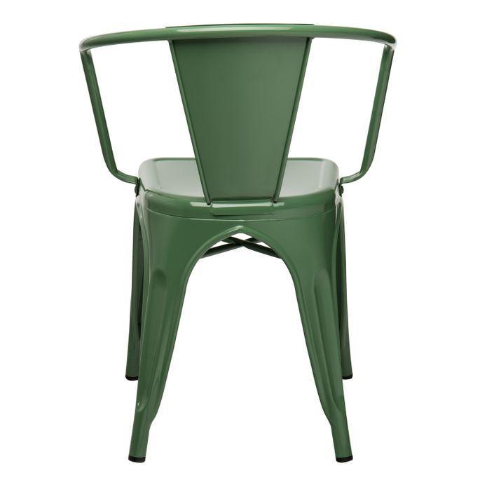 Chaise industrielle avec accoudoirs acier brillant vert platane Kuista - Photo n°3