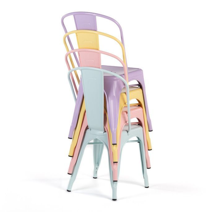 Chaise industrielle avec accoudoirs acier brillant vert platane Kuista - Photo n°4