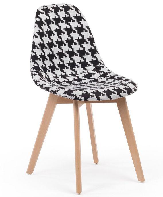 Chaise patchwork noir et blanc et pieds hêtre naturel Coki - Photo n°1