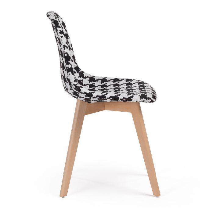 Chaise patchwork noir et blanc et pieds hêtre naturel Coki - Photo n°2