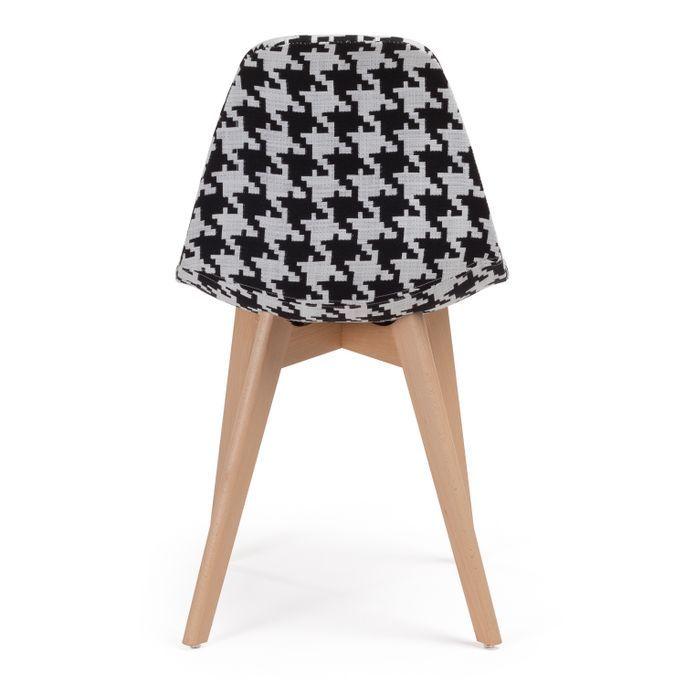 Chaise patchwork noir et blanc et pieds hêtre naturel Coki - Photo n°3