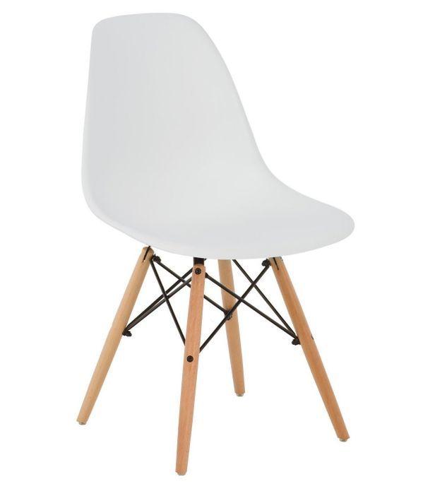 Chaise scandinave blanche et bois naturel Bristol - Photo n°1