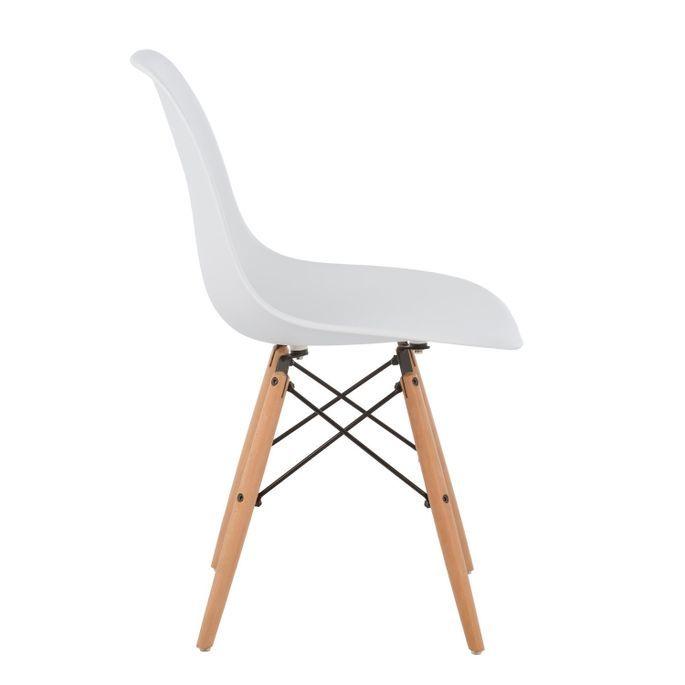 Chaise scandinave blanche et bois naturel Bristol - Photo n°2