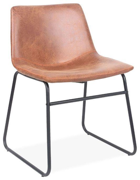 Chaise simili cuir camel et pieds métal noir Famou - Photo n°1