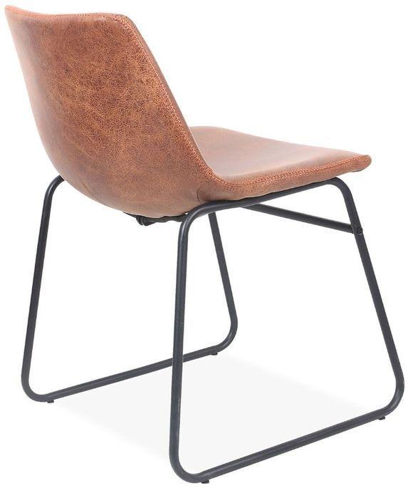 Chaise simili cuir camel et pieds métal noir Famou - Photo n°2